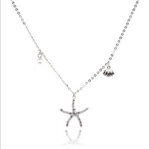 Silver crystal starfish shell pearl necklace